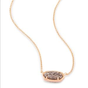 Elisa Pendant in Rose Gold & Platinum Drusy